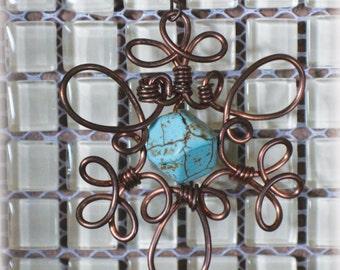 Turquoise gemstone statement earrings