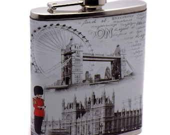 Stainless Steel & Leather Pocket London Flask Alcohol Whiskey Liquor Bottle 7 oz. / 207 ml Great Perfect Gift