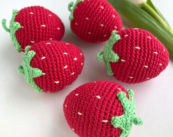 1 Pc Crochet Strawberry/ Teething Toy/ Play food for kids/ Pretend Play/ Crochet Fruit/ Amigurumi