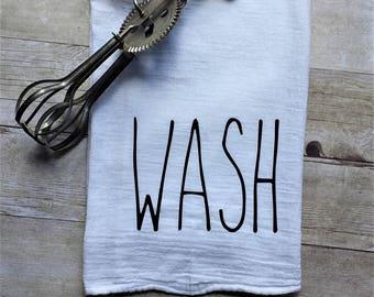 Wash / Rae Dunn Inspired / Kitchen / Flour Sack / Towel / House Warming / Gift / Farmhouse / FixerUpper / Linens / Home Decor / Coffee