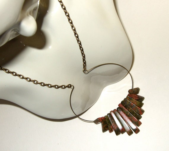 Art Deco Necklace, Graduated Beads Necklace, Unakite Stones, Circular Pendant, Autumnal Jewelry, Fall Jewelry, Art Deco Style, Bead Necklace