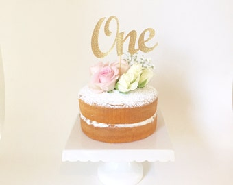 ONE Cake Topper - Gold Glitter One Cake Topper, 1st Birthday Cake Topper -First Birthday Girl, Cupcake - 1st Birthday Decorations