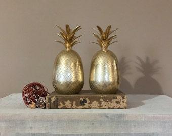 "Pair of 9.5"" Brass Pineapple / Brass Pineapple Ice Bucket / Brass Pineapple Container / Vintage Brass Pineapple / Hospitality Pineapple"