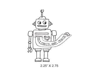Robot Original Art Ex Libris Bookplate Rubber Stamp M09 featured artist