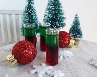 Miniature Gel CANDLE Christmas Red & Green in GLASS Column for Holiday Decorating  -  Miniatures for 1:6 Scale Fashion Dolls and Figures