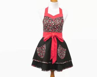 Plus Black & Red Retro Apron, Large Black Floral Retro Apron, X-Large Black Full Skirt Apron, Plus Red and Black Sweetheart Neck Apron
