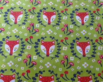 1/2 Yard Organic Cotton Fabric - Birch Fabrics Folkland - Foxy in Grass