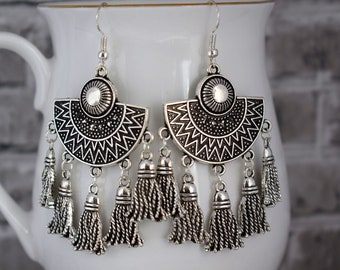 Tassel earrings, Tribal earrings, Aztec earrings, Silver ethnic earrings, African jewelry, Long earrings, Student gift, Boho earrings