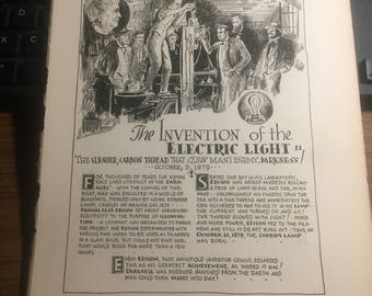 The invention of the electric light Thomas Alva Edison 1879. 1933 book page history print illustration . Art frameable history