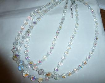 Vintage Aurora Borealis Glass Crystal Necklace