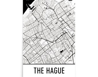 Den Haag Map Black and White Netherlands Art The Hague