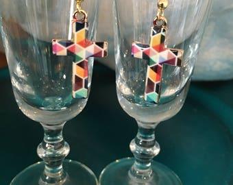 Multi Colored Cross Enamel Earrings Fish Hook Earrings Holiday Christmas