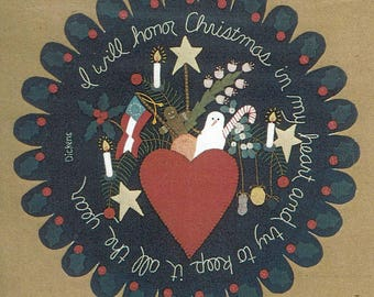 I Will Honor Christmas in My Heart Folk Art Penny Rug by All Through the Night - Pattern
