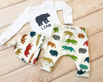 Bears Baby Boy Coming Home Outfit / Woodland / Grizzly / Baby Clothes