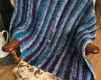 "CROCHET bulky chunky soft handmade lap afghan blanket chair throw wheelchair adult toddler child acrylic blue purple 35"" x 39"" USA made new"