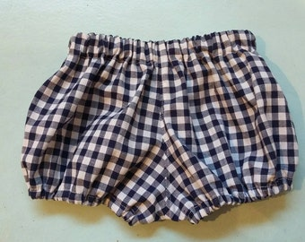 Navy blue and white cotton gingham pantaloons.