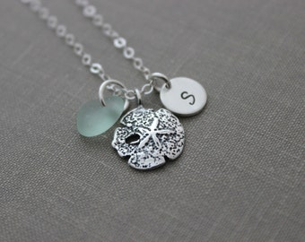 sterling Silver sand dollar, initial and genuine sea glass necklace - personalized mini initial disc, beach jewelry, summer - Gift For her