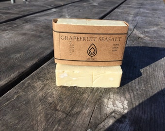 100% Natural Grapefruit Sea Salt  Soap • Palm Free Soap, Vegan Soap, All Natural Soap, Handmade Soap, Cold Process Soap, Clove Soap,