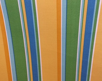 OUTDOOR STRIPE Yellow Gold Aqua Blue Green Upholstery Fabric, 36-60-13-0914