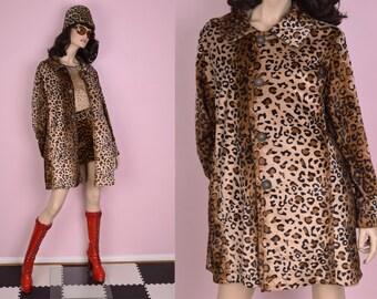 90s Reversible Fuzzy Leopard Print Coat/ XL/ 1990s/ Jacket