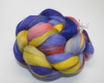 "Baby ALPACA/Merino, Handpainted SPINNING FIBER/Roving - 4 oz,  Handpainted With Acid Dyes, Blue/Pink/ Yellow - ""An Evening in Oz"""