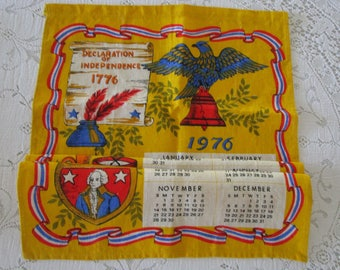 Vintage Tea Towel 1976 Calendar Declaration of Independence/ Vintage Calendar 1976/  Declaration of Independence Tea Towel/ Tea Towel