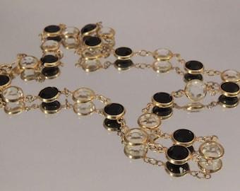 SWAROVSKI Crystal Necklace, Swarovski Black and Clear Austrian Crystal Necklace, Bezel Set Swarovski Crystal Chain, Swarovski Jewelry