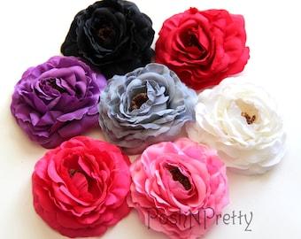 "5 pcs CUSTOM Color Soft Ruffle Ranunculus Rose flowers - 4"" - CHOOSE COLORS"