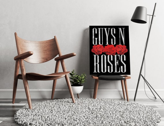 Guys N Roses Black Canvas  | artwork | art prints | framed art | art posters | watercolor art | giclee prints | wall art | ZuskaArt
