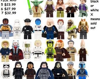 star wars the force awakens pick any five  LUKE DARTH Leia Minifigure figure Custom made some models built of LEGO® bricks
