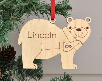 Wooden Bear Christmas Ornament: Personalized Name Boy or Girl, 2018 Baby's First Christmas, Kids Woodland Animal Ornaments