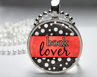 Book Lover Glass Dome Pendant Necklace