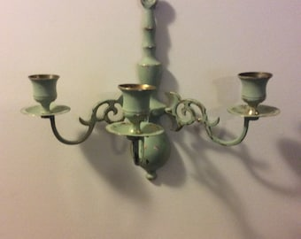 Vintage Candelabra Olive Green Handpainted  Brass Three Light Candelabra, Shabby Chic Wall Decor, Wedding Decor, Tea Party Decor