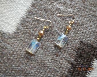 Gold-tone Semi-Precious Clear Stone Dangle Earrings