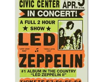 Vintage Replica Art. Led Zeppelin Concert Poster