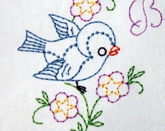 Bluebird Machine Embroidery Design 4x4 or 5x7 hoop, vintage colorwork linework: INSTANT DOWNLOAD