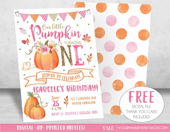Pumpkin Birthday Invitation, Little Pumpkin Invitation, Fall Autumn 1st Birthday Invites, Pumpkin 2nd birthday Invitations for Girl