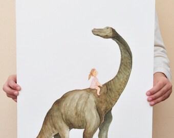 SALE original artwork 42x29.8cm/16,5x11,7 inch // dinosaur illustration // Unique christmas gift at reduced price