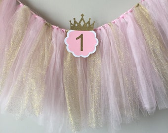 High chair tutu, Pink and gold birthday party, high chair banner, 1st birthday high chair banner, first birthday glitter tutu
