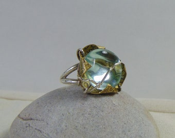 Sterling Silver n Brass w Aqua Glass Crystal Ring