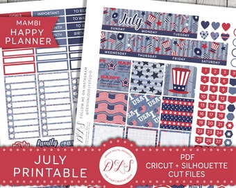 July Monthly Planner Kit, July Happy Planner Stickers, July Monthly Stickers, Fourth of July Stickers Kit, Mambi July Planner Kit, HPMV127
