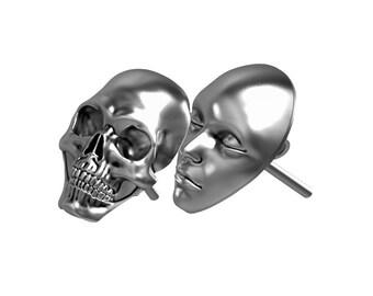 Death & Life earring, Silver Earrings, Black Earrings, Skull Earrings, skull jewelry, Gothic jewelry, skull art, skull designs, skull face