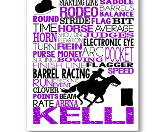 Barrel Racing Typography Poster, Horse Lover Gift, Rodeo Gift, Barrel Racing Gift, Barrel Racer Art, Horse Racing Canvas, Rodeo Racer Gift