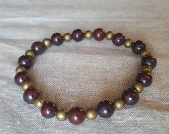Brecciated jasper + brass mala inspired yoga and meditation bracelet/ gemstone bracelet