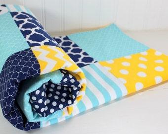 Baby Blanket, Minky Baby Blanket, Nursery Decor, Baby Shower Gift, Baby Quilt, Navy Blue, Yellow, Aqua Blue, Navy, Aqua, White, Baby Boy