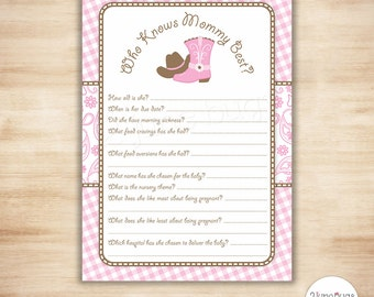 Who Knows Mommy Best Shower Game - Cowgirl Baby Shower Game - Printable Who Knows Mommy Best Shower Game - PRINTABLE, INSTANT DOWNLOAD