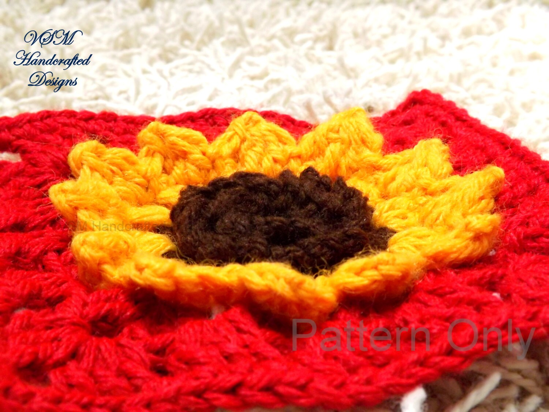 Sunflower Granny Square Crochet Pattern w 3D Texture Details for ...