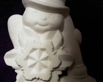 Snowflake snowman-ceramic bisque-paint it yourself