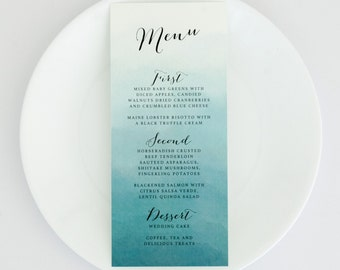 Ombre Wedding Menus - Teal Blue Ombre – Romantic Timeless Calligraphy Wedding Menu (Evelyn Suite)
