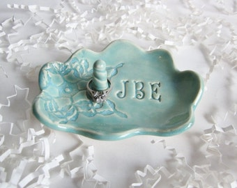 Bridal shower gift, cloud  ring holder gift, Bride to be gift, His and Hers monogram ring dish, Ceramic dish, Made to Order